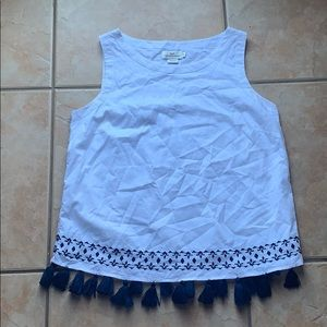 Vineyard Vines White Cotton Tassel Tank Size 8